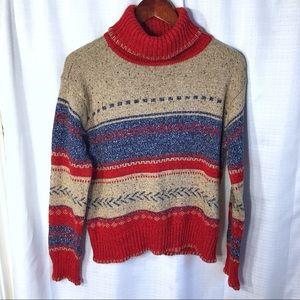 Striped Turtleneck Sweater Sz M